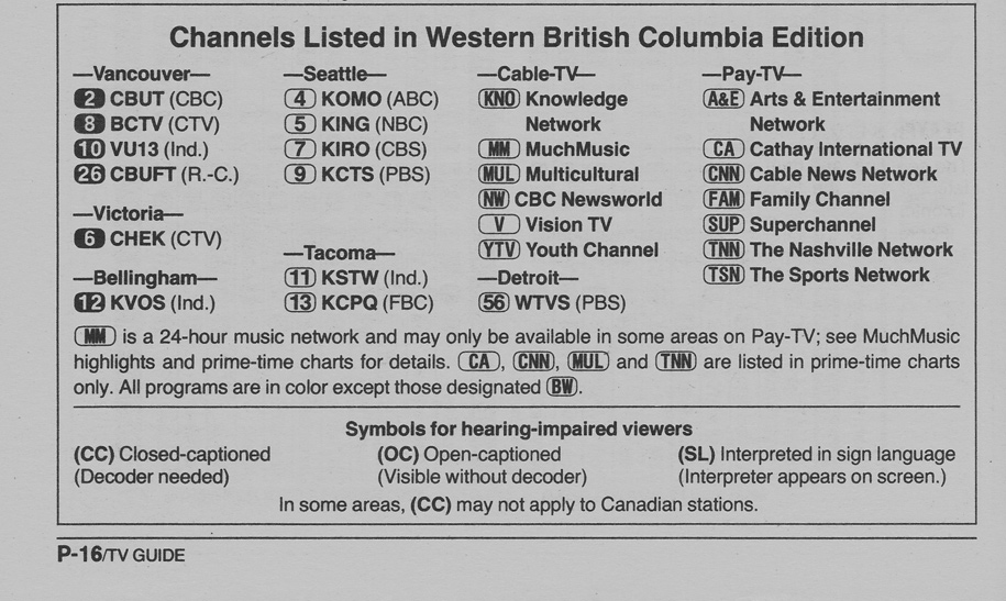 Vintage Channel Guide From Western British Columbia